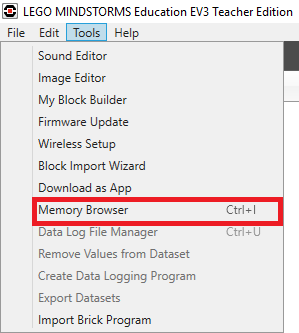 MEMORY BROWSER MENU